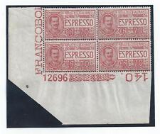 1925 REGNO Italia/Italy, Espresso n° 11 QUARTINA CON NUMERO DI TAVOLA MNH/**