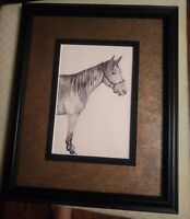 Original Pencil Horse Drawing by Unsigned Artist. Framed and Matted by Michael's