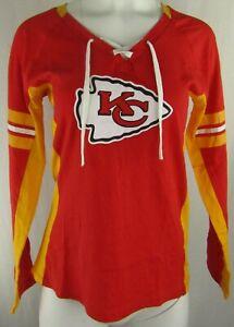 Kansas City Chiefs NFL Majestic Women's Lace-Up Logo T-Shirt