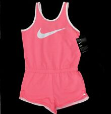 Nike Sports Girls Pink Sleeveless Dri Fit Striped Swoosh Logo Jumpsuit Romper 6X