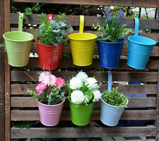20PCS Flower Pot Hanging Balcony Garden Metal Iron Wall  Planter Home Decor