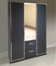 New Matrix Metallic Grey Chrome 3DR 2DRW Mirrored Wardrobe 136cms *German Made*