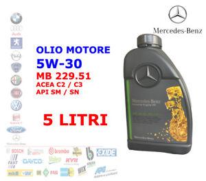 OLIO MOTORE 5W30 C2 C3 ORIGINALE MERCEDES - BENZ MB 229.51 5 LITRI LT