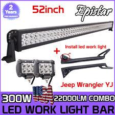 52inch 300W LED Light Bar+2X4''18W Pods+Mount Bracket For Jeep Wrangler YJ NEW