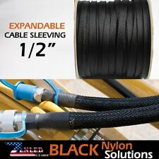 "1/2"" 50ft Braided Cable Nylon Wire Loom Conduit Polyethylene Tubing Sleeve 600"""