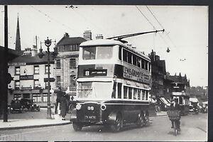 Postcard Size Transport Photo - Nottinghamshire Corp Tramways Street Scene MB924