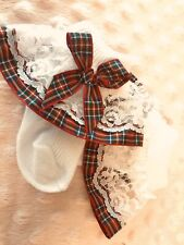 White Baby Girls Lace Frill Socks Tartan Ribbon Trim with Bows Size Newborn