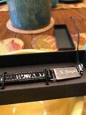 Auth Bvglari Black Patten Leather Logo Cell Phone Strap Made In Italy W/Box