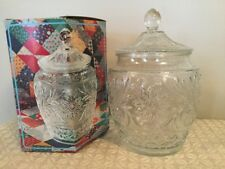 Vtg Anchor Hocking Sandwich Clear Cookie Jar with Lid Original Box Granny's P1