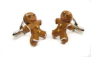 Ginger Bread Resin Poured Retro Funky Birthday/Anniversary Cufflinks Gift Set