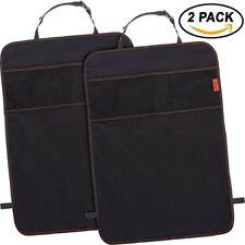 Lusso Gear 3 Pocket Car Kick Mats (2 Pack) Odor Free, Premium Waterproof Fabric