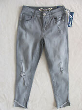 Seven7 Ankle Skinny Jeans-Destroyed/Embroidery-Shark Bite-Grey-Size 2/4-NWT $69