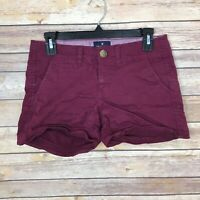 "American Eagle Womens 2 Shortie Chino Shorts Cotton Stretch Mid Rise 4"" Inseam"