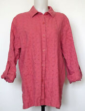 JM Collection Roll-Tab Cuff Salmon Eyelet Linen Button-Front Shirt 14