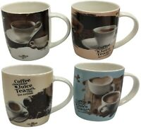 Set of 4 Large Mugs Coffee Tea Mugs 340ml With Coffee Enthusiast Mug Set
