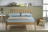 Porto Bed - Wooden with Headboard in Natural Waxed Pine Single Small Double Wood
