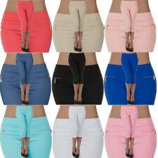 malucas Damen Capri Hose Hüfthose 3/4 Knielang Shorts Kurze Sommerhose Stretch