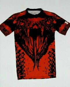 Under Armour Boys Heat Gear Black Red COBRA Short Sleeve Shirt Tee Med