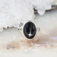schwarzer Stern Diopsid Ring, 925er Silber, Edelsteinring (22842), Black Star