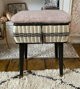 """Vintage Sewing Box Stool On Legs 17"""" X 13"""" X 11"""" Good Condition"""