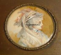 Antique charming girl Miniature portrait Painting on trinket box vintage retro
