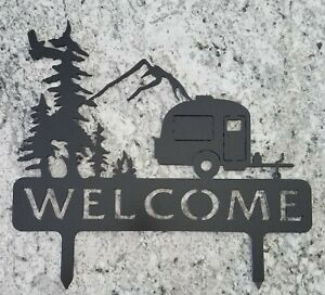 Camper sign, welcome or personalize, Stake,  outdoors.