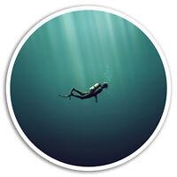 2 x 10cm Scuba Diver Vinyl Stickers - Diving Ocean Sticker Luggage Laptop #8123