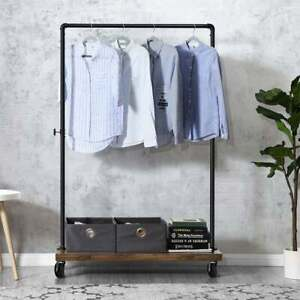 Industrial Clothes Tidy Rail - Heavy Duty Metal with Rustic Wooden Bottom Shelf