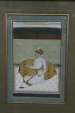 Hand Painted Indian Mughal In Prayer Art Miniature w Gold & Vegetable Dyes