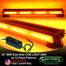 "23"" Amber 80W COB LED Double Sided Hazard Warning Strobe Emergency Light Bar"
