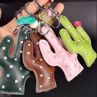 PU Leather Cactus Key Chain Key Ring Key Holder Women Handbag Pendant Key Chain