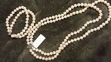 Row Pearl Necklace and Bracelet Brand New DiaVonah 6.5-7 mm Double