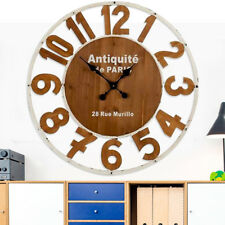 Orologio da Parete in Legno e Metallo Bianco Design Vintage Retro' Diametro 80cm
