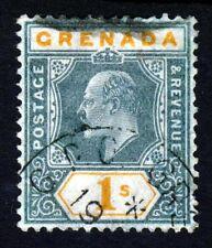GRENADA King Edward VII 1905 One Shilling Green & Orange SG 73 VFU