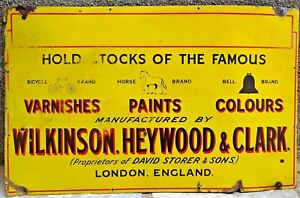 WILKINSON HEYWOOD & CLARK LONDON SIGN ADVERTISE COLOUR VINTAGE PORCELAIN ENAMEL
