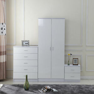 NEW White High Gloss 3 Pc Wardrobe and Drawers Bedroom Furniture Set