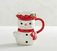 Pottery Barn Figural Snowman Christmas Coffee Mug NEW NIB