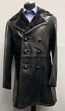 JT153 VINTAGE MENS GORGEOUS CLASSIC DOUBLE BREASTED LONG LEATHER PEA COAT JACKET
