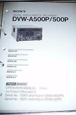 Operation Manual für Sony DVW-A500P/500P  ,ORIGINAL