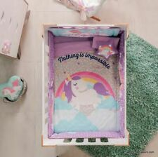 Unicorn Rainbow Crib Set Bedding Comforter Baby Shower Gift Nursery Girl Cotton