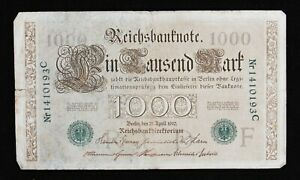 antique German 1910 1000 mark bank note NR1410193C, used circulated