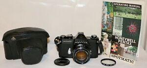 Asahi Pentax Black Spotmatic II + 50mm f/1.4 Super Takumar M42 + Case NICE