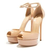 Women's Ankle Strap Super High Heels Peep Toe Pumps Patent Leather Party Shoes