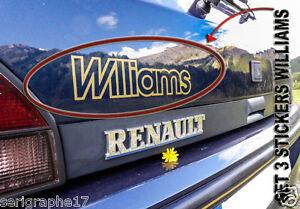 lot de 3 autocollants stickers renault Clio Williams 16S monogramme adhesif