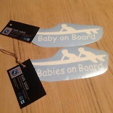 CAR STICKER BABIES ON BOARD White Sticker For Car Van 4x4 Trailer Pram Buggy MIA