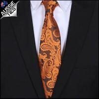 Orange Paisley Mens Tie Men's Necktie