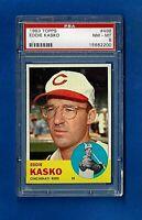1963 TOPPS BASEBALL #498 EDDIE KASKO PSA 8 NM-MT CINCINNATI REDS  MID SERIES