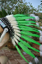 21inch green indian feather headdress indian warbonnet american costumes
