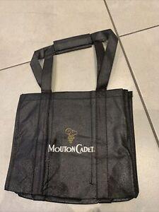 Mouton cadet reusable Bottle Bag 6 bottles wine spirit carrier bag Black