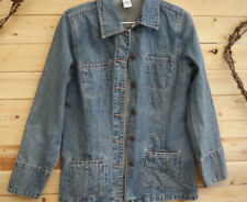 DENIM JACKET distressed blue SZ 12 button down long